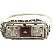 Garnet Diamond Ring | Platinum Art Deco | Vintage Three Stone Filigree