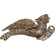 Ottoman Diamond Bird Brooch | 9K Yellow Gold | Antique Ruby Pin