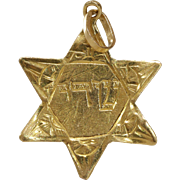 Magen David Pendant Charm | 18K Yellow Gold | Vintage Retro Star