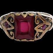 Mens Ruby Ring | Sterling Silver Gilt Bronze | Vintage Gents Rectangle