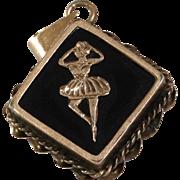 Gold Ballerina Pendant | 14K Yellow Onyx | Vintage Black Jewelry