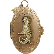 Gold Parrot Locket Pendant | 14K Yellow Rose | Vintage Retro Bird