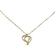 Heart Pendant Necklace | 14K Yellow Gold Diamond | Vintage Chain