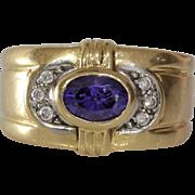 Amethyst Gold Ring | 14K Bicolor Gold | Cubic Zirconia Vintage