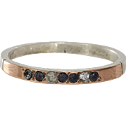 Sodalite Cubic Zirconia Ring | 9K Bicolor Gold | Vintage Israel