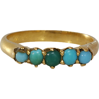 Victorian Turquoise Gold Ring | 18K Yellow Five Stone | Antique Blue