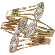 Cubic Zirconia Cocktail Ring | 14K Tricolor Gold | Vintage Israel
