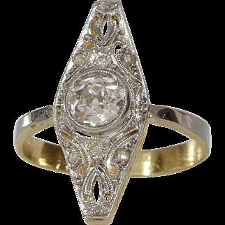 Art Deco Navette Ring | Diamond 14K Gold | Vintage Engagement Cocktail