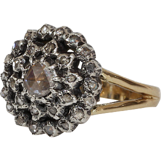 Georgian Diamond Cluster Ring | 14K Gold Silver | Antique Cocktail