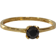 Black Diamond Engagement Ring | Gilt Sterling Silver | Vintage Israel