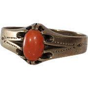 Victorian Coral Mens Ring | 9K Yellow Gold | Antique Salmon Orange