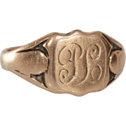 Victorian Monogram Ring | 9K Rose Gold | Antique England Signet PL