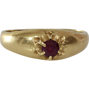Victorian Ruby Ring | 14K Yellow Gold | Antique Solitaire Red