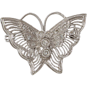 Art Deco Butterfly Brooch | 14K White Gold Diamond | Pin Vintage