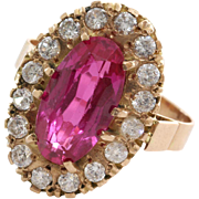 Pink Topaz Cocktail Ring | 14K Yellow Gold | Vintage Cubic Zirconia