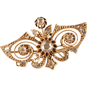 Victorian Diamond Brooch | 14K Yellow Gold | Antique Pin Rose Cut