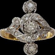 Art Nouveau Diamond Ring | 18K Gold Platinum | Antique Engagement