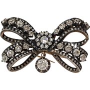 Victorian Russian Diamond Bow Brooch | 14K Gold Silver | Antique Pin