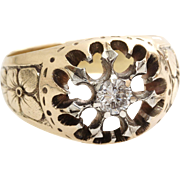 Russian Mens Diamond Ring | 14K Yellow White Gold | Antique Solitaire