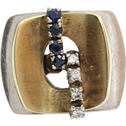 Sapphire Diamond Cocktail Ring | 14K Yellow White Gold | Vintage Retro