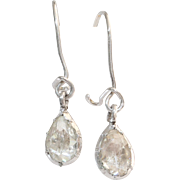 Rose Cut Diamond Drop Earrings | 18K White Gold | Vintage Pear Dangle