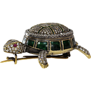 Victorian Russian Tortoise Brooch | 18K Gold Diamond | Antique Turtle