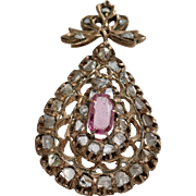 Ottoman Sapphire Diamond Pendant | 9K Rose Gold Pink | Antique Jerusalem