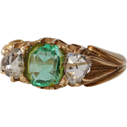 Georgian Emerald Diamond Ring | 18K Gold Rose Cut | Antique Victorian