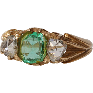 Georgian Emerald Diamond Ring | 18K Gold Rose Cut | Antique Victorian