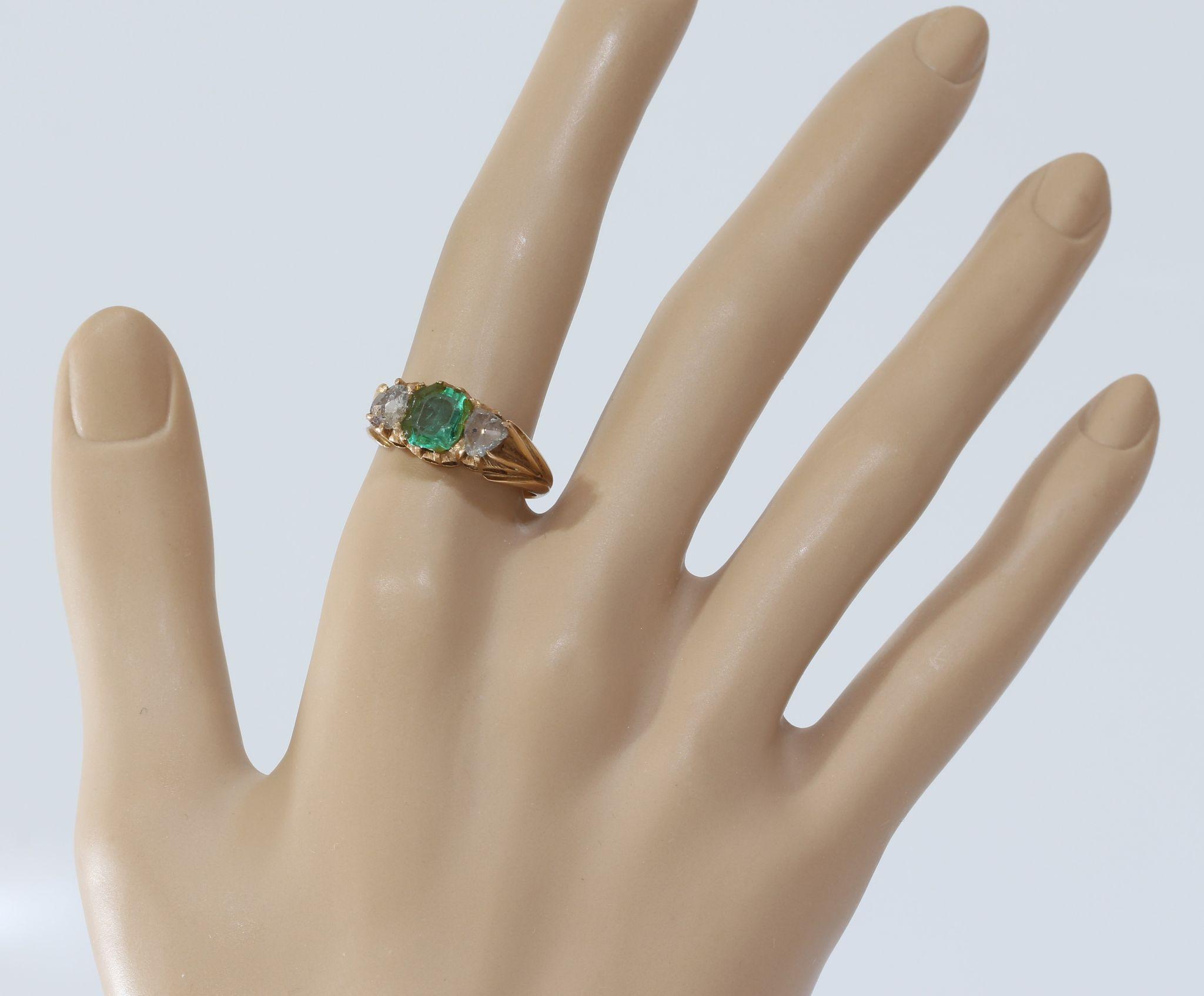 georgian emerald diamond ring 18k gold rose cut antique
