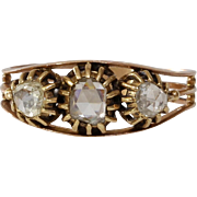Georgian Three Stone Diamond Ring | 18K Rose Gold | Antique Victorian