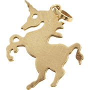 Unicorn Charm Pendant | 14K Yellow Gold | Vintage Horse Jewelry USA