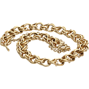 Gold Link Bracelet   14 Karat Yellow Vintage   Charm Safety Chain 14K