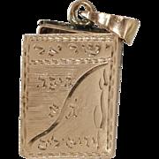 Gold Siddur Locket Pendant   14K Yellow Charm   Vintage Judaica Israel