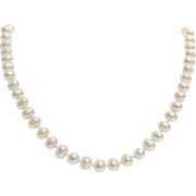 Ringed Pearl Necklace | White Cultured Oval | Semi Baroque Vintage 925