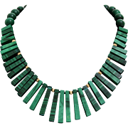 Malachite Bead Choker Necklace | 14K Yellow Gold | Vintage Retro Green