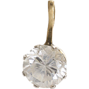 Cubic Zirconia Pendant | 14K Yellow White Gold | Vintage Diamond CZ