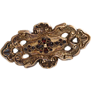 Victorian Garnet Gold Brooch | 9K Yellow Pin | Antique England Red 9Ct