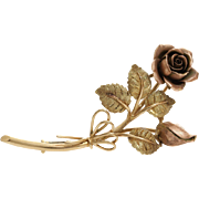Gold Rose Flower Brooch | 14K Bicolor Pin | Vintage Art Deco Austria