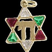 Magen David Chai Pendant   14K Gold Cubic Zirconia   Vintage Israel