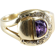 Amethyst Diamond Mens Ring   14K Yellow Gold   Vintage Israel Gent