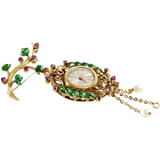 Art Deco Watch Brooch | 18K Gold Ruby Pearl | Swiss Vintage Enamel Pin