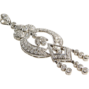 Edwardian Diamond Pendant | Platinum Old European Cut | Antique Drop