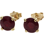 Ruby Stud Earrings   14K Yellow Gold   Vintage Red Solitaire Round