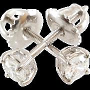 Diamond Stud Earrings | 14K Gold Brilliant | Vintage Israel White