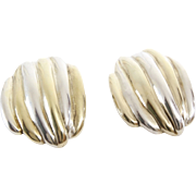 Argent Clip On Earrings | Two Tone Sterling Silver | Vintage Lost Wax