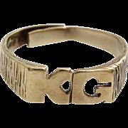 KG Initial Ring | 9 Karat Yellow Gold | Vintage Unisex England 9K