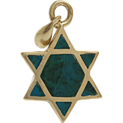 Magen David Gold Pendant   Eilat Stone 14K Yellow   Vintage Star