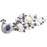 Peacock Sapphire Brooch | Sterling Silver Ruby Pearl | Vintage Culture
