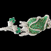 Emerald Diamond Flower Brooch | 18K Bicolor Gold | Vintage Rose Pin